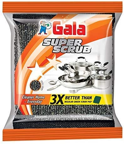 Gala Super Scrub Set – Made of Steel – Black (Pack of 4)