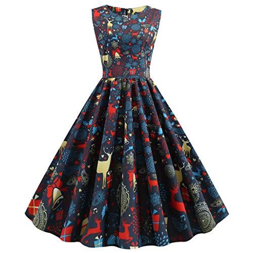 Canifon Damen Elegant Weihnachten Gedruckt Abendkleid Frauen Jahrgang O-Ausschnitt Ärmellos Reißverschluss Hohe Taille Party Kleid