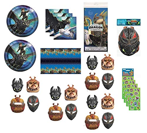 How to Train Your Dragon Birthday Party Supplies Bundle for 16 includes Lunch Plates, Napkins, Table Cover, Paper Masks, Stickers