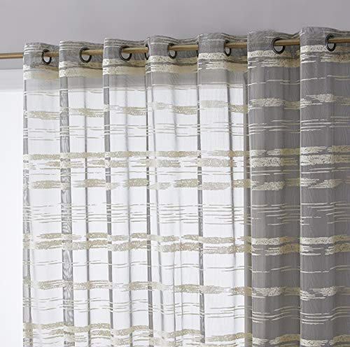 HLC.ME Broadway Striped Premium Soft Decorative Extra Wide Sheer Voile Light Filtering Grommet Patio Door Curtain Drapery Panel for Sliding Glass Door (100 x 84 inches Long, Beige)