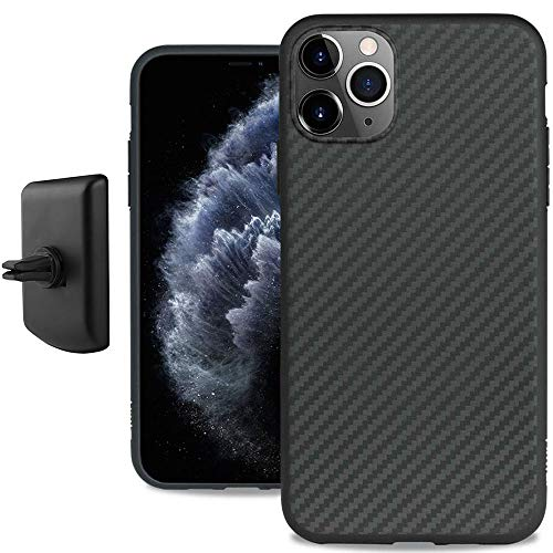 Evutec Karbon iPhone 11 Pro 5.8 Inch, Unique Hard Smooth Heavy-Duty Phone Case Cover Real Aramid Fiber Strong Protective Slim 1.6mm Durable (Black)-AFIX+ Free Vent Mount