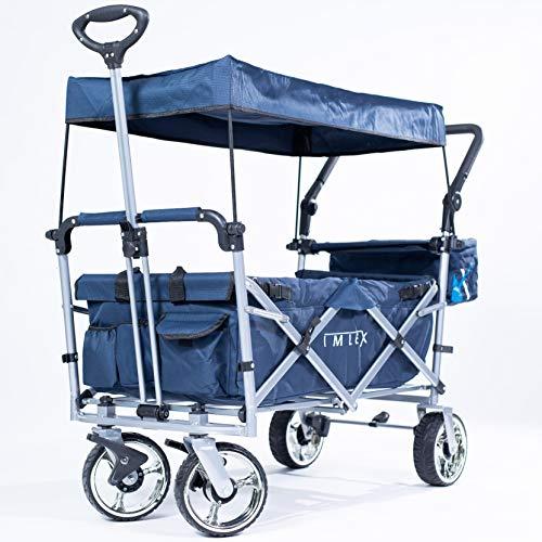 IMLEX Bollerwagen IM-4268 Mitternachtblau mit Schiebe und Zieh Funktion mit Breiten Verchromter Räder, integrierten 2 Anschnallgurten und Klappbaren Hecktasche