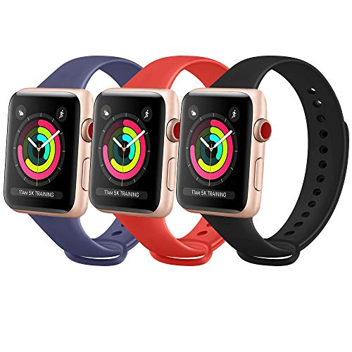 FUUI Correa Compatible con Apple Watch 38mm 42mm 40mm 44mm, Pulseras de Repuesto de Silicona Suave para iWatch Series 6 5 4 3 2 1, Mujer y Hombre(3 Pack)(42mm/44mm M/L, Azul Marino/Naranja/Negro)