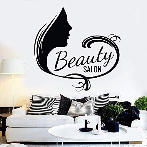 Salon de coiffure vinyle autocollant mural manucure cosmétiques cils motif Art autocollant décoration 43X42Cm