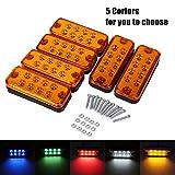 12V 8 LED Luz de Marcador Lateral Luces camion led Lámpara Indicadora Lateral para Vehículos 6Pcs(Amarillo)