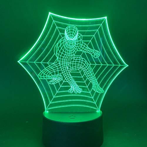 Neue Spider Man Marvel Superhelden LED Nachtlichtfarben Wechselschalter Nachtlicht USB Nachttischlampe 3D