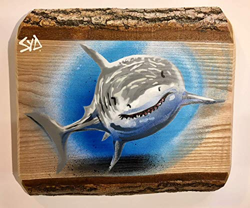 Shark Graffiti Stencil Painting | Unique special Gift | Handmade in the UK on Ash Wood | Picture Spray painted | Limited Edition piece 31cm w x 37cm | Gift for him or her | Handmade in the UK