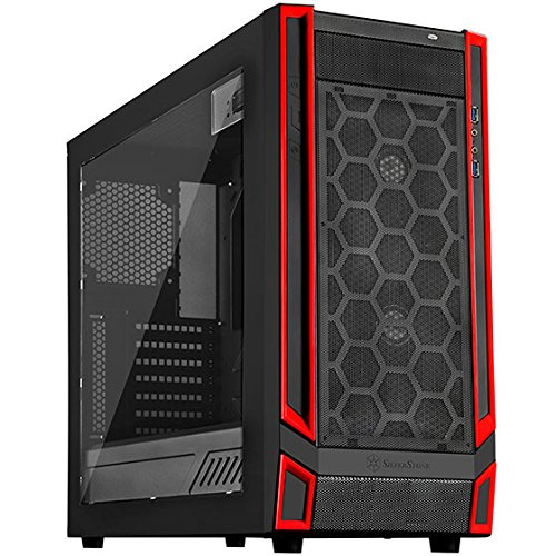SilverStone SST-RL05BR-W - Cabinet da Gaming Red Line Midi Tower ATX Silent, Silent High Airflow Performance, nero