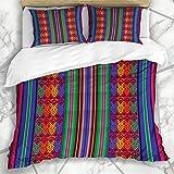 Juegos de fundas nórdicas Tejido Azul Patrón peruano Boliviano Auténtico Inca Ecuador Perú Quecha Ecuatoriana Ropa de cama de microfibra con 2 fundas de almohada Cuidado fácil Antialérgico Suave Suave
