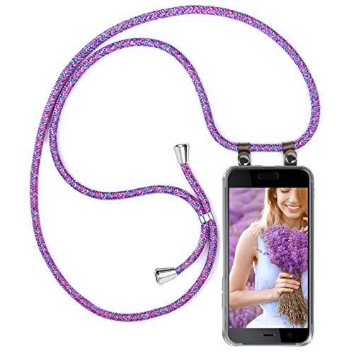 moex Handykette kompatibel mit HTC U Play Hülle mit Band Längenverstellbar, Handyhülle zum Umhängen, Silikon Hülle Transparent mit Kordel Schnur abnehmbar in Lila Pink