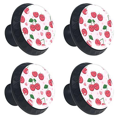 FURINKAZAN Manija Armario de cocina Perillas de puerta Cajón Armario Tirador de la Ropa Gancho Moderno Simple Cartoon Rojo Cereza Sonrisa Corazón Rosa