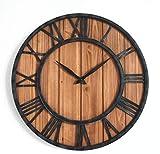 XJZKA Reloj de Pared para Exteriores, 45CM Reloj de Pared de Engranajes Retro de Gran tamaño Relojes Exteriores Sala de Estar Reloj silencioso sin tictac para jardín/hogar/Patio