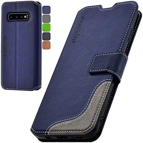 elephones Handyhülle für Samsung Galaxy S10 Plus Hülle mit TÜV geprüftem RFID-Schutz aus PU Leder Samsung Galaxy S10 Plus Schutzhülle Flip Hülle Klapphülle Handytasche für Samsung S10+ Blau