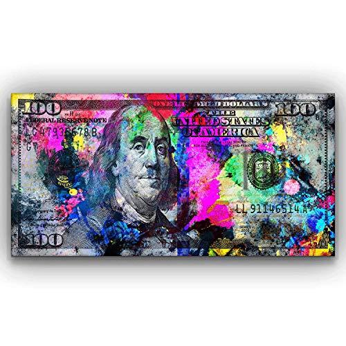 100 Dollars Bill Wall Art Canvas Print Office Decor Money Pop Art Entrepreneur Motivational 100 Bill Cash Benjamin Franklin Dollar Print Art (20' x 40')