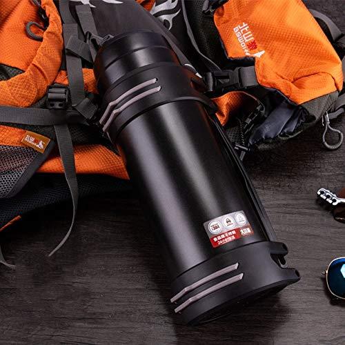 XSY Botellas Calientes de Acero Inoxidable de Alta Capacidad, Botellas Calientes de Moda al Aire Libre automotrices, Taza de vacío Aislante portátil 1.2/1.6/2/2.5/3L 1.2L Negro