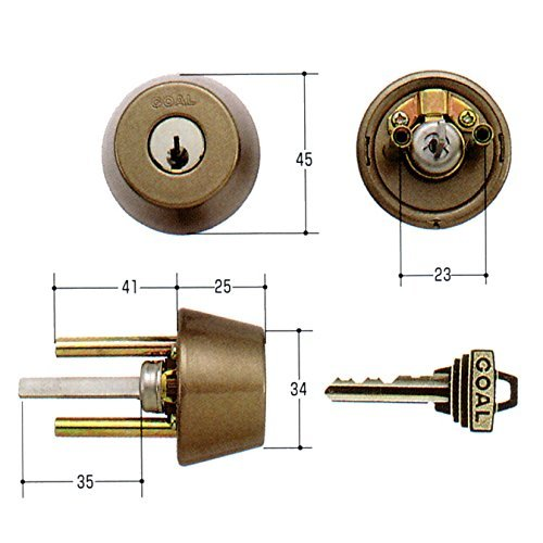 GOAL(ゴール) 標準ピンシリンダー ADタイプ 鍵 交換 取替え GCY-96 AD/GK/TDDアンバー色35〜45mm
