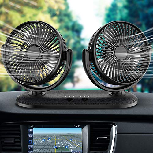 2021 Adjustable Portable Dual Head Leather Car Fan, 3 Speeds, Strong Wind, Rotatable Cooling Fan for SUV, RV, Boat, Vehicles Glasses, Dashboard, Wall Mounted USB Car Fan