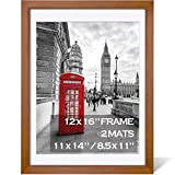 12x16 Picture Frames Wood Display Pictures 11x14 or 8.5x11 Diplomas with Mat or 12x16 Frame without Mat - Picture Frames 11x14 with 2 Mats, Made of Solid Wood for Wall Mounting or Table Top Display