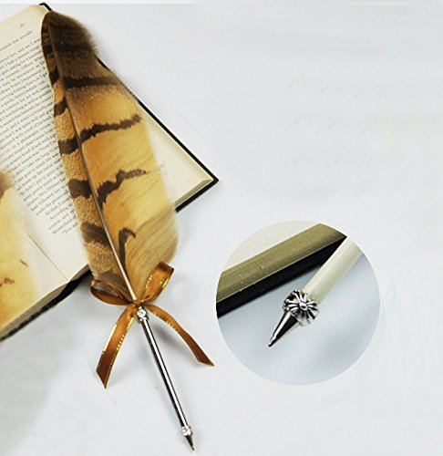 IreVoor Feather Ballpoint Pen Vintage Owl Feather Pen Refined Plated Rod Quill Ballpoint Pen (1Feather ballpoint pen)