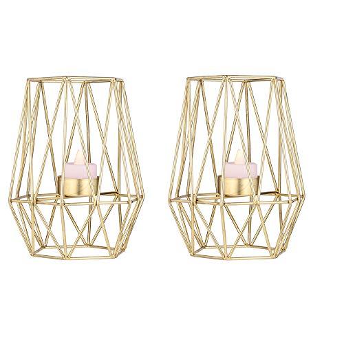 LANLONG 2-teiliger geometrischer Kerzenhalter aus Metall, Teelichthalter, Heimdekoration, Kerzenhalter, geometrische Kerzenhalter, Tafelaufsatz, Kerzenhalter Gold L