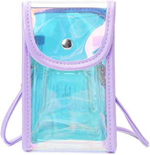Fashion Small Clear Crossbody Phone Bag Purse Wallet Holographic for Women Girls