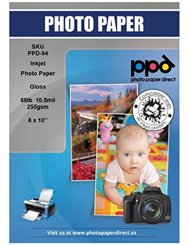 """PPD Inkjet Glossy Super Premium Photo Paper 8x10"""" 68lbs. 255gsm 10.5mil x 50 Sheets (PPD094-50)"""