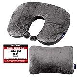 Dunlopillo 2 in 1 Reisekissen und Nackenhörnchen 31x21 cm - Nackenkissen für das Flugzeug & zum Reisen - Travel Pillow - Ergonomisches Kopfkissen mit Microperlen - 3