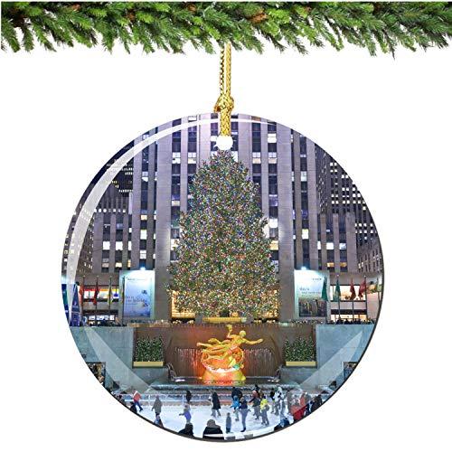 playtailor Rockefeller Center Christ-mas Ornament Porcelain X-mas Tree Hanging Decoration, Christ-mas Gift for Friends Family