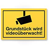 Komma Security Grundstück wird videoüberwacht Kunststoff Schild Infozeichen 30 x 20 cm Hinweisschild Warnhinweis Videoüberwacht Einbruchschutz Warnhinweis Videoüberwacht - nach DIN 33450