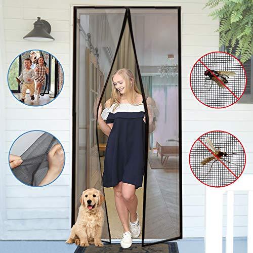 YUFER Magnetic Screen Door 30×80 Reinforced Fiberglass Mesh Curtain Front Door Screen with Full Frame Hook&Loop - Fits Door Size up to 30x80 Inch Max,Grey