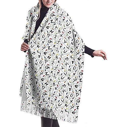 Elaine-Shop Damenschal Flugzeuge Muster Klassisch Quaste Plaid Schal Herbst und Winter Warmer Schal
