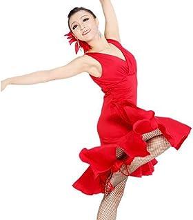 Reisam Fashion Latin Dance Dress for Women Ballroom Dance Skirt Long Latin Dance Costume Training Dress Practice Skirt