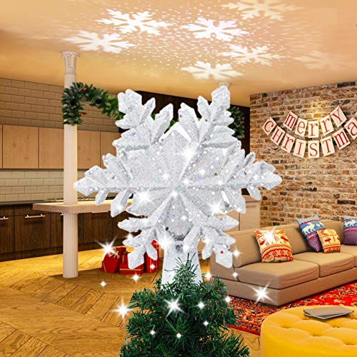 LUNSY Christmas Snowflake Tree Topper Projector, 3D Hollow Glitter Lighted Tree Topper with White Rotating Snowflake, Festival Lights for Christmas Tree Decorations(Silver)