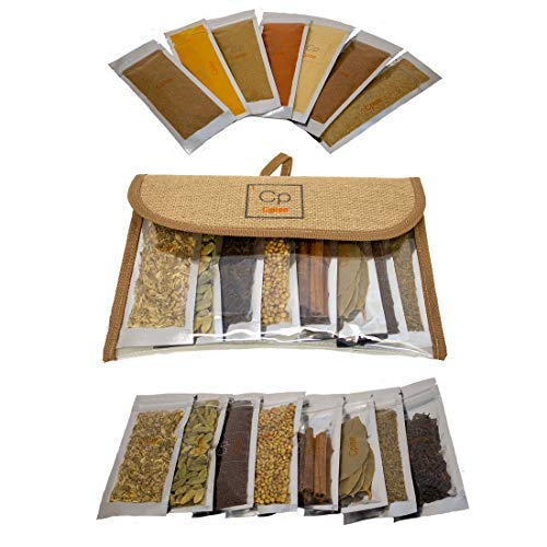 Cpise 15 ORGANIC Indian Spice & Seasoning Set - Ground Whole Indian Spices: Bay Leaves, Brown Mustard, Cardamom, Cayenne, Cinnamon, Cloves, Coriander, Cumin, Fennel, Ginger, Garam Masala, Tikka Masala