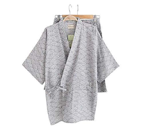 Black Temptation Kimono Jinbei camisa y pantalón japonés Loungewear/Spa albornoz (corto) - A