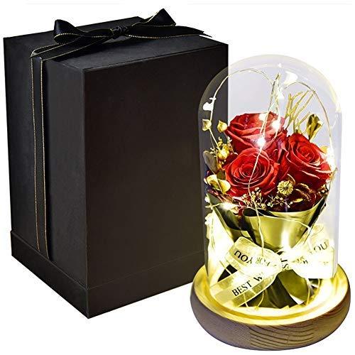 Rosas eternas, flores reales preservadas con luz LED, base de madera de cúpula de cristal, ideal para bodas, aniversarios, regalo del día de San Valentín, (color: rojo)