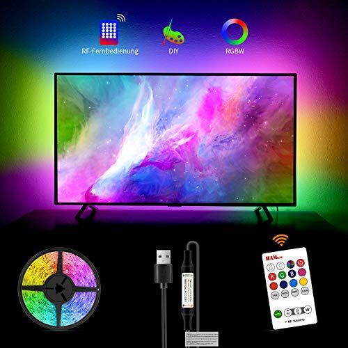 LED TV Hintergrundbeleuchtung für 60 65 Zoll, Hamlite 6500K fernseh hintergrundbeleuchtung True White, 4.5M Led, W-Form Easy Curve Design TV Bias Beleuchtung TV PC