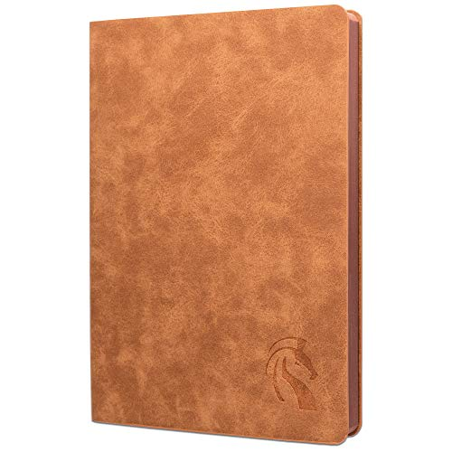 LeStallion Nice Tan Leather Notebook Ruled - Soft Cover Leather Journal Lined - 120GSM Premium Writing Paper for Fountain Pens - 200 Numbered Pages - A5 5x8 Diary - PU Leather Journal For Men & Women