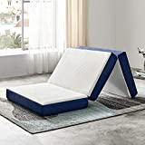 JINGWEI Folding Mattress, Tri-fold Memory Foam Mattress Topper with Washable Cover, 6-Inch, Twin Size, Play Mat, Foldable Bed, Guest beds, Camp Portable Bed, 38' 75' 6'