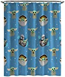 Jay Franco Star Wars The Mandalorian Blue Space Shower Curtain & Easy Care Fabric Kids Bath Curtain Features Grogu Baby Yoda (Official Star Wars Product)
