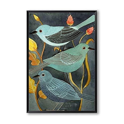 Canvas Schilderij Dieren Vogels Nachtegaal Retro Decor Canvas Creatieve Kunst Schilderij Foto Poster Wall Art Decor 50x70cm (19.7