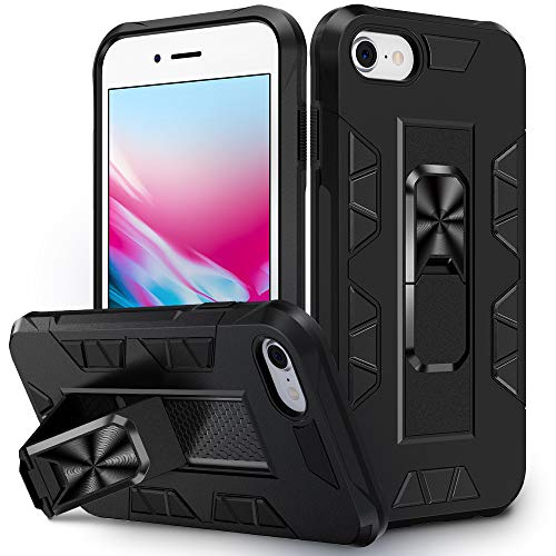VEGO Compatible for iPhone SE 2020 Case, iPhone 6 6s 7 8 Case with Magnetic Holder, Military Grade Kickstand Hybrid Shockproof Protective Stand Case for iPhone 6/6s/7/8/SE 2020, 4.7 inch Black