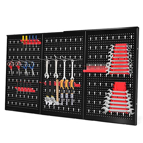 DREAMADE Werkzeugwand Lochwand aus Eisen, Werkzeuglochwand Lochblech Lochwand mit Hakenset, Werkzeughalter Werkzeughalterung Wandpalatten Lagersystem