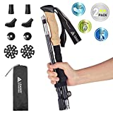 Leader Accessories Tough Folding Adjustable Lightweight Hiking\/Walking\/Trekking Poles with Ergo Cork & Quick Locks (Up to 53'') 50% Carbon Fiber for Exploration, Backpacking, Climbing, 1 Black\/Red