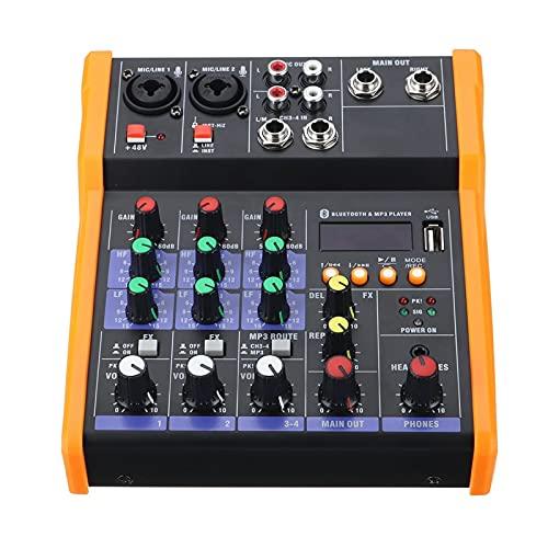 QinWenYan Mezclador de Audio 4 Canales Bluetooth DJ Mic Audio Mezclador De Audio Live Studio Audio Mezcling Console para Afinar (Color : Orange, Size : One Size)