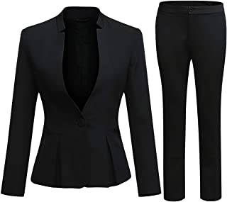 Women's Business Office 1 Button Blazer Jacket and Pants Suit Set