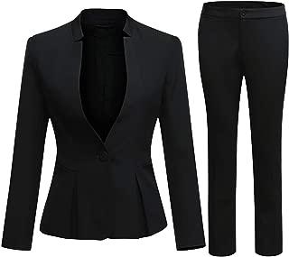 Women's Business Office 1 Button Blazer Jacket and Pants Suit Set
