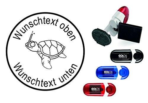Taucherstempel « SCHILDKRÖTE mit SCHNORCHEL » mit persönlichem Namen & Tauchspruch - Abdruckgröße ca. Ø 24 mm - Tauchen Diving - Stempel für Logbuch