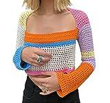 Y2k Women Long Sleeve Crop Top Crochet Knit Color Block Pullover Jumper Tops Loose Patchwork Shirts 90S Streetwear(Orange Blue,S)