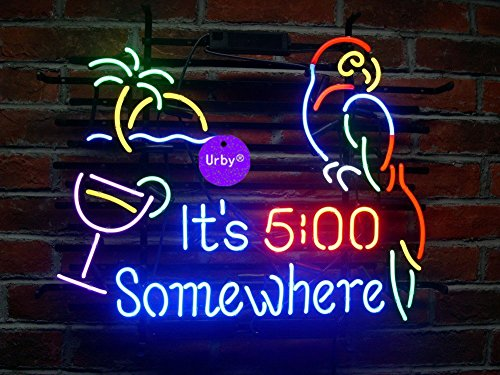 """Urby 20""""x16"""" It's 5:00 5 O'clock Somewhere Parrot Handmade Real Glass Neon Sign"""
